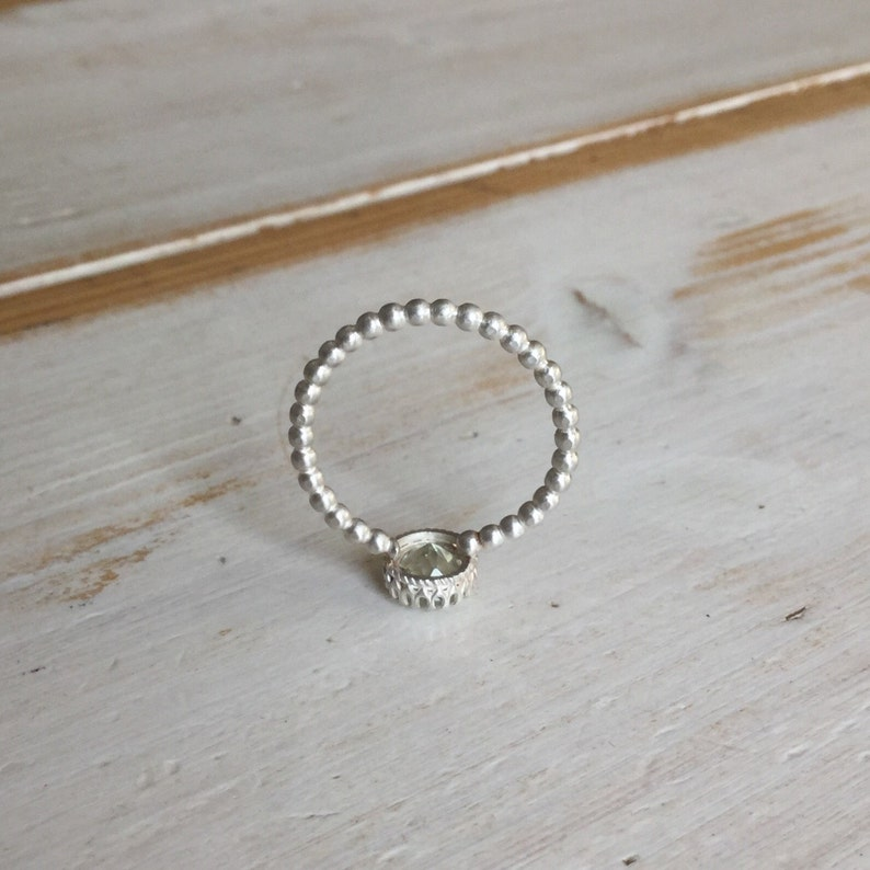 Sterling Silver Green Amethyst Stacker Ring Green Amethyst Single Stone Stackable Ring with Beaded Band Green Amethyst Ring
