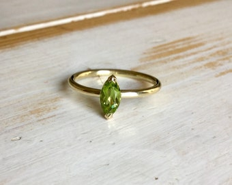 Peridot Engagement Ring, Marquise Engagement Ring, 18ct Yellow Gold Peridot Ring, Marquise Peridot Ring, Navette cut Peridot Ring, green