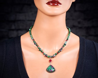 Gaia Ruby Pendant Earthy Necklace GaiasGiftsToUs Ruby Jewelry Macrame Stone Pendant Macrame Jewelry Ruby in Zoisite Necklace Nurture