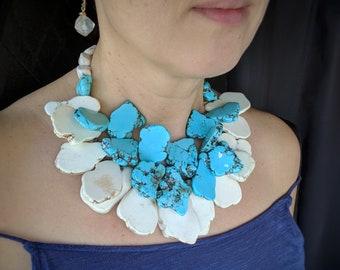Huge big blue white turquoise howlite slab multistrand statement boho necklace