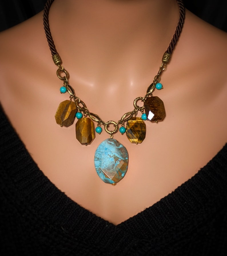 blue ocean jasper slab tiger eye necklace Genuine Tiger Eye blue Jasper slice blue Turquoise brass leather statement Gemstone necklace