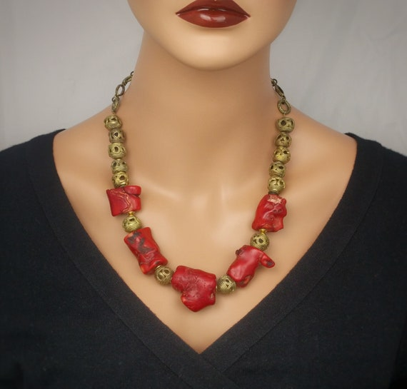 Genuine untreated raw rough red Agate beaded statement necklace Natural red raw gemstone Agate necklace