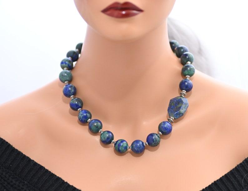 Azurite malachite chrysocolla beaded statement necklace Blue lapis lazuli gemstone huge big bold necklace