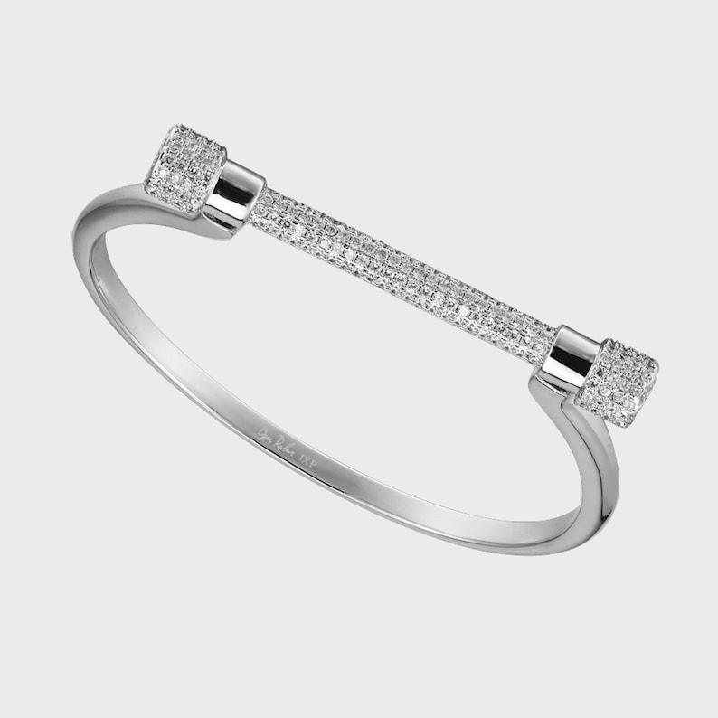 Paved White Gold Screw Cuff Bracelet