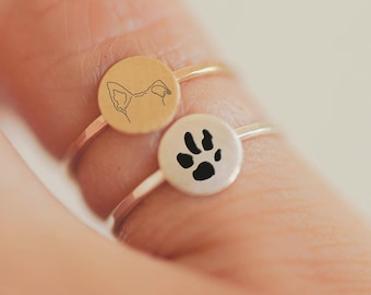 Custom Paw Print and Dog or Cat Ears Tattoo Inspired Mini Sterling Silver Gold Unisex Dainty Stacking Ring Set | Minimal Dainty Pet Memorial