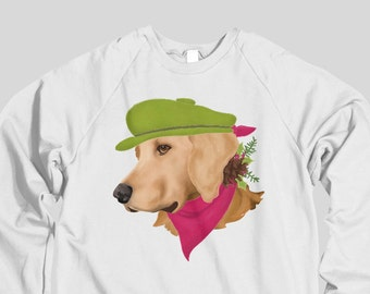 68834ae1a7 Golden Retriever Labrador Christmas Sweatshirt | Festive Christmas Sweater  Holiday Dog Portrait Crew Neck Long Sleeve Dog Lover's Sweater