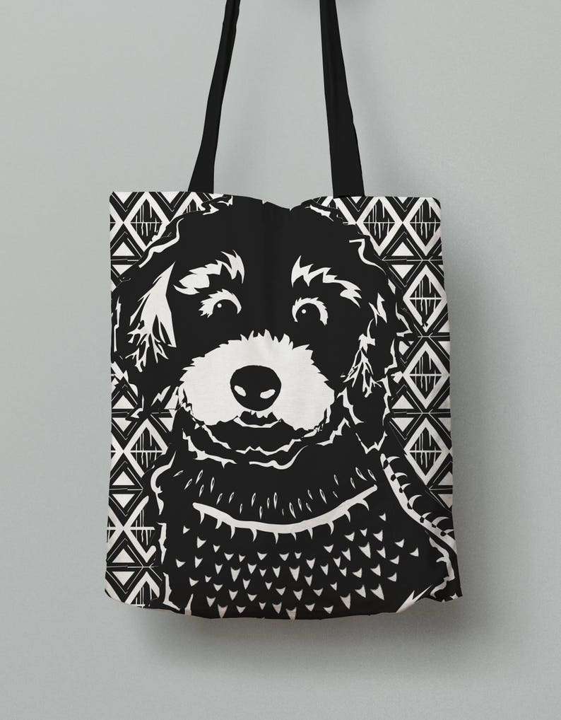 In 3 Sizes Black /& White Tote Carryall NEW BREED! Linocut Bold Patterned Doodle Labradoodle Goldendoodle Aussie Doodle Dog Tote Bag