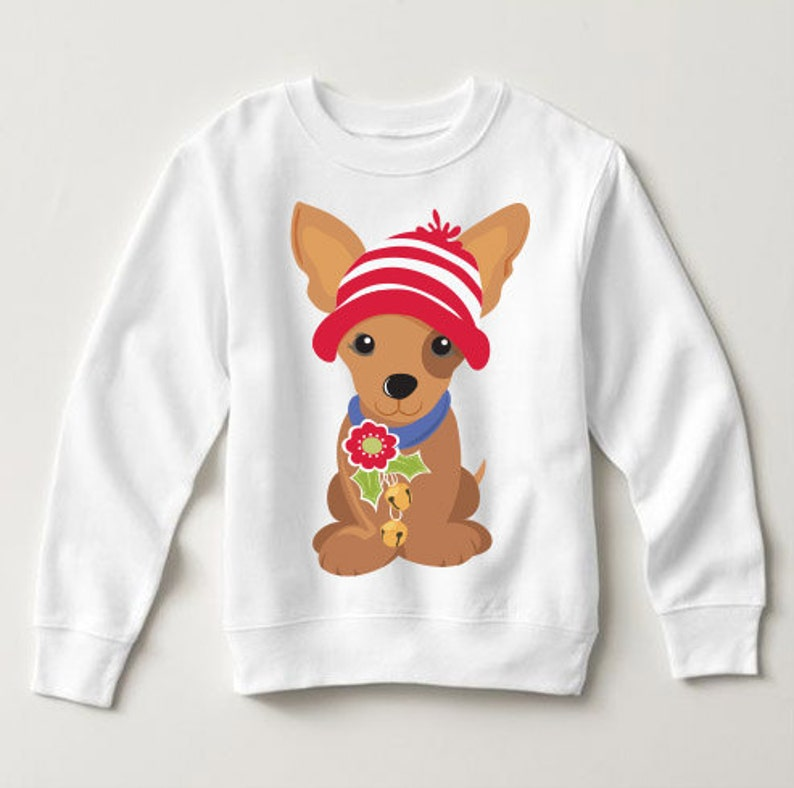 Christmas Holiday Chihuahua Wearing Hat Baby Sweater Dog Lover Festive Pick a Style Toddler OR Youth Sweatshirt or Hoodie