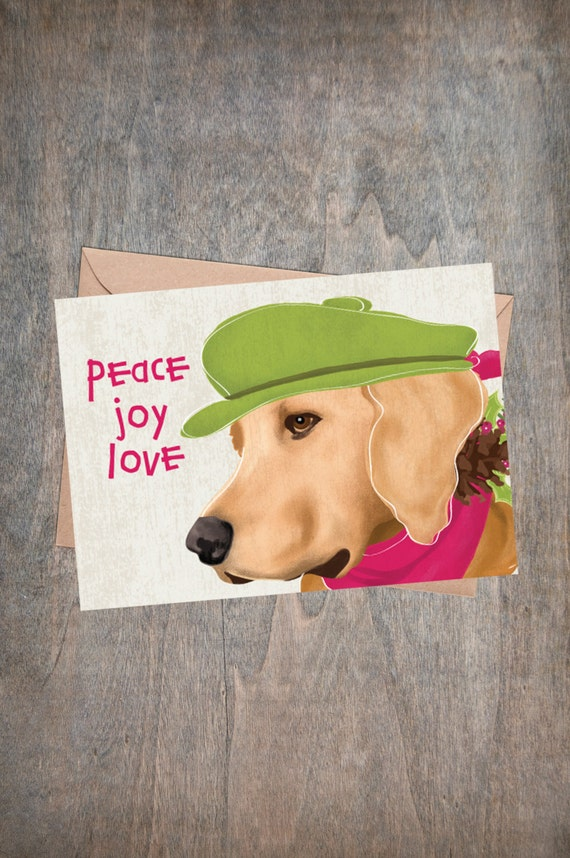 Golden Retriever Christmas Card Set Peace Love Joy Dog Note | Etsy