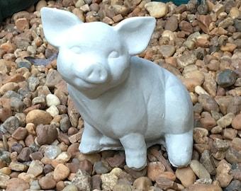 Cement Statue Sitting Pig