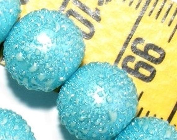 6 Perles Nacrées Mouchetées [LightBlue] 10 mm