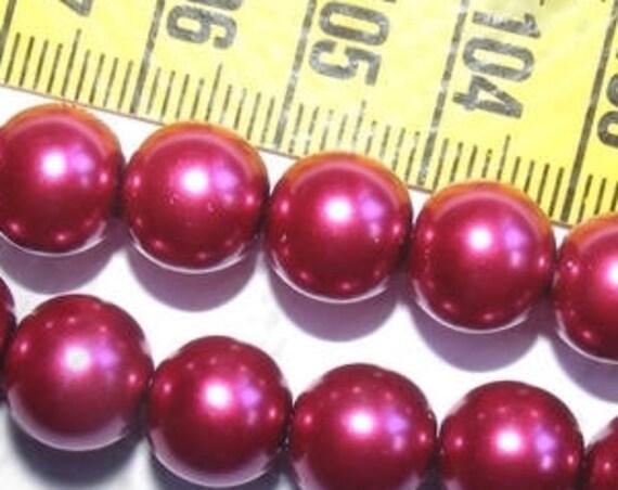 DERNIER LOT # 12 Perles Rondes Nacrées # verre de Bohème # 10 mm # coloris [Prune] # glass pearl beads # créations de bijoux DIY # DollyDoo