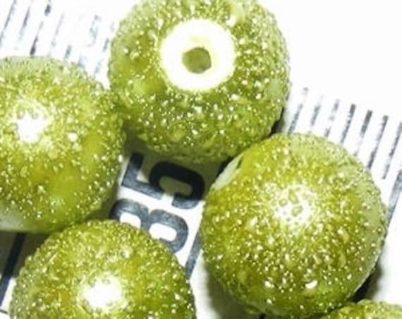 6 Perles Nacrées Mouchetées [Olivine] 10 mm
