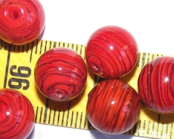 Perle lampwork [rouge/noir] 12 mm