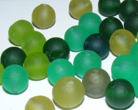 10 Perles dépolies [Assortiment de verts] 10 mm