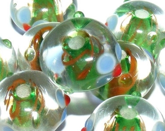 Perle lampwork [crystal/péridot] 13 mm