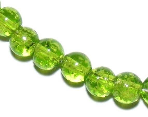 Glass bead lampwork, Lampwork, Pearl bead murano glass bead 8 mm round beads, Pearl luminous green glow effect, dollydoo