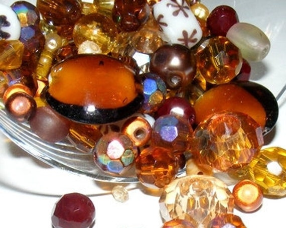 50g de perles de verre [camaïeu de marron]