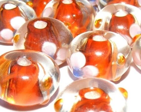 Perle lampwork [crystal/orange] 13 mm