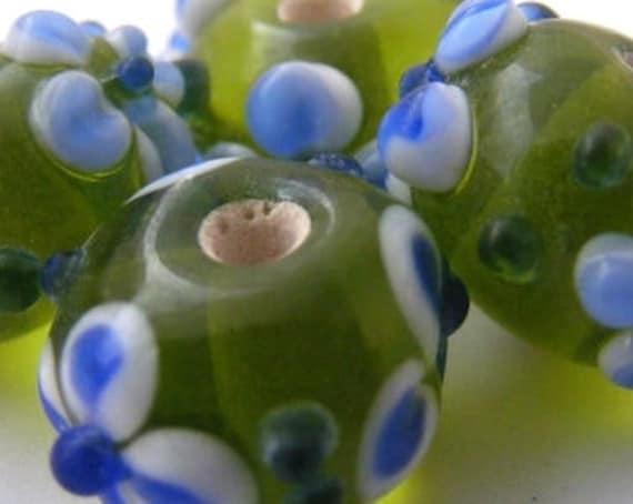 4 Perles [Green&BlueFlowers] 14x9 mm