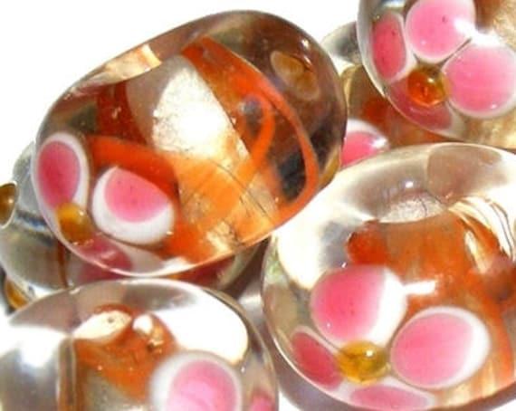 Perle lampwork [crystal/blanc] 13 mm