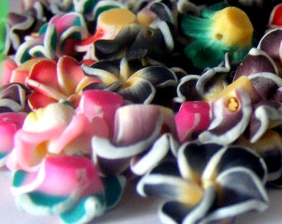 10 frangipani flower beads 12 mm