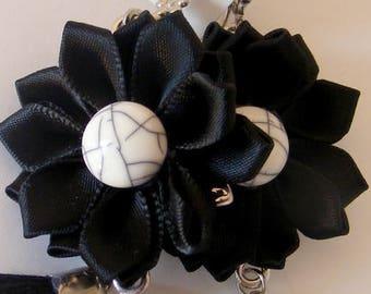 Earrings # satin flowers # flowers from polymer clay # satin ribbon flower # flowers # earrings polymer clay flowers earrings