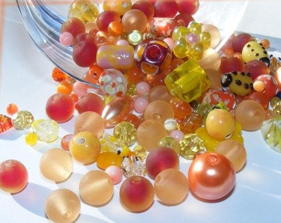 50g de perles orange et jaune
