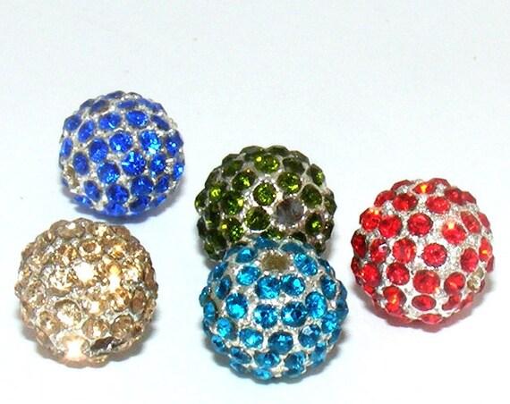 Perle strass métal 12 mm