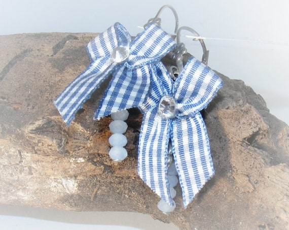 Boucles d'oreilles [Vichy Blues Ribbons]