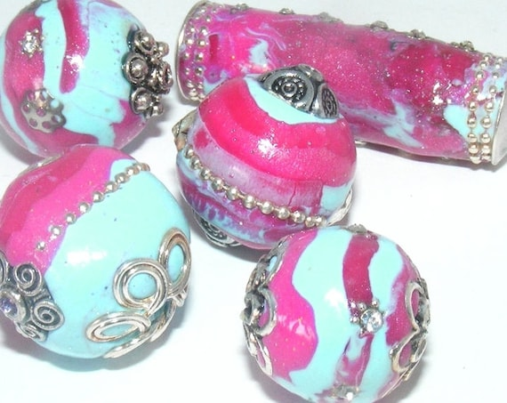 Lot unique 5 perles [Kashmiri] 20 ~ 40 mm