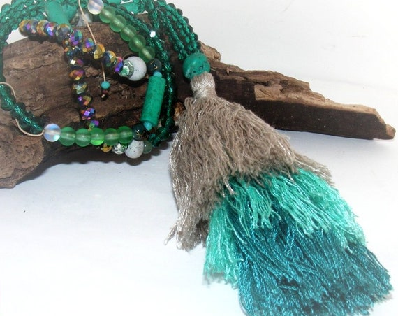 Sautoir pompon [Turquoise]