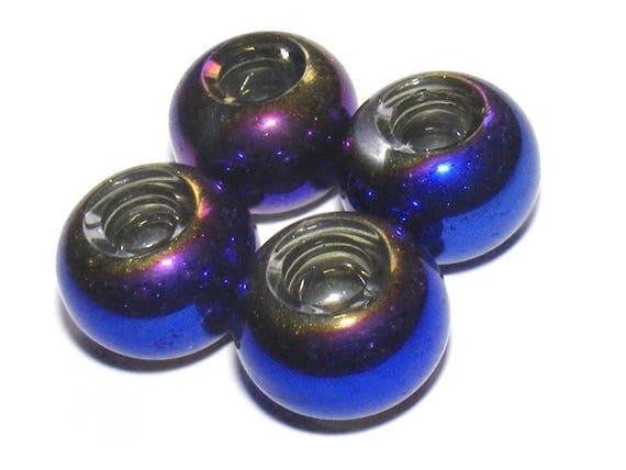 Washers way 15 mm x 1 MettalicMidnightBlue Pandora beads