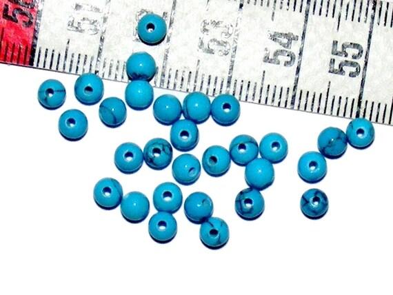 Round 4mm Imitation Turquoise Veinee x 50