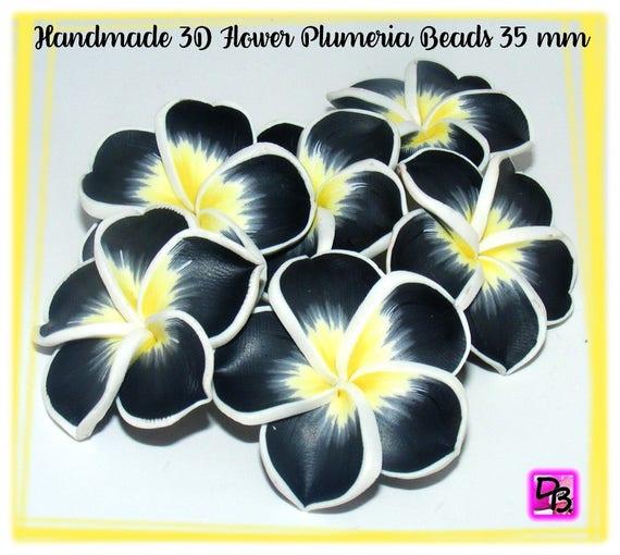 1 perle fleur de frangipanier 35 mm
