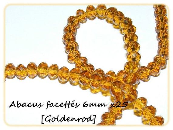 Perles Abacus Facettés 6x4mm Cristal de Bohème Goldenrod x25