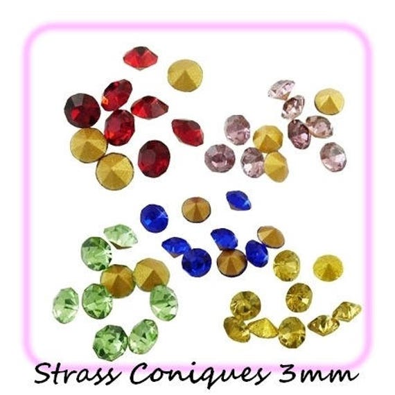 Swarovski rhinestones, diamond, multicolored Rhinestones, rhinestone 3 mm Rhinestones, rhinestone bottom tapered, paste Rhinestones, rhinestone crimp findings Dollydoo