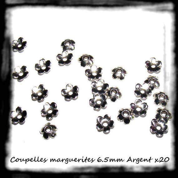 Bead caps [daisies] 6.5 mm silver bead caps findings x 20