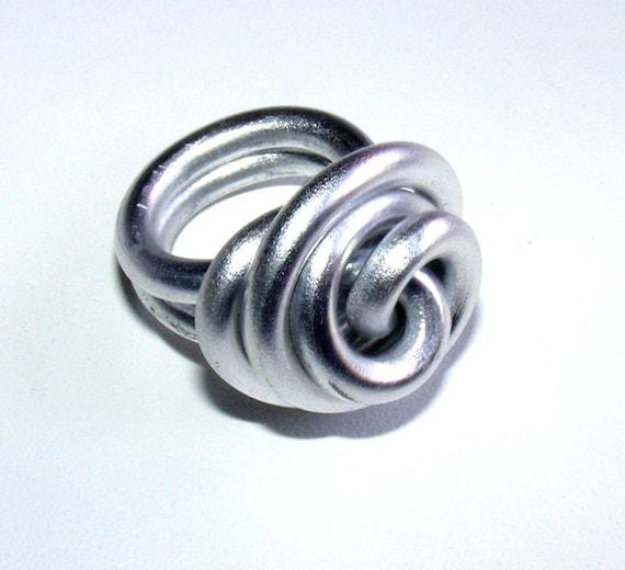 Bague Créateur [Meringue] en Fil d'Aluminium Argent Taille 54