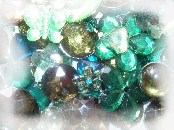 Cabochons acrylic stick 5 ~ 20mm Mixed Color green x 10