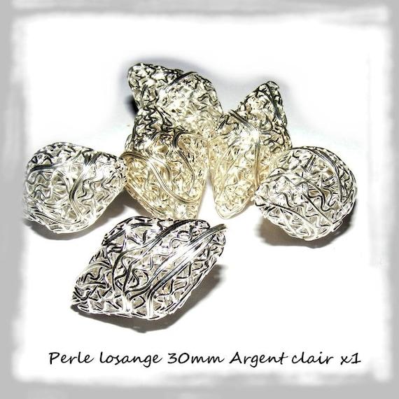 Perle Losange toupie 30mm Argent clair x1