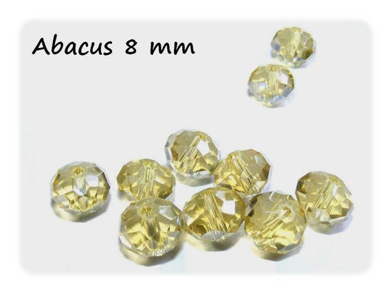 Bohemian crystal bead shape Abacus faceted 8 mm x 10 LightTopaz color