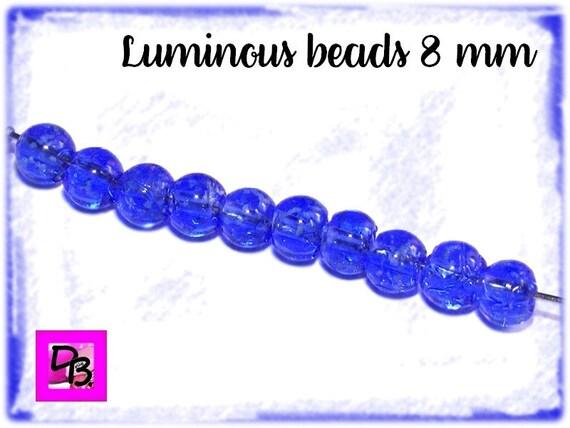 10 perles Luminous [RoyalBlue] 8mm