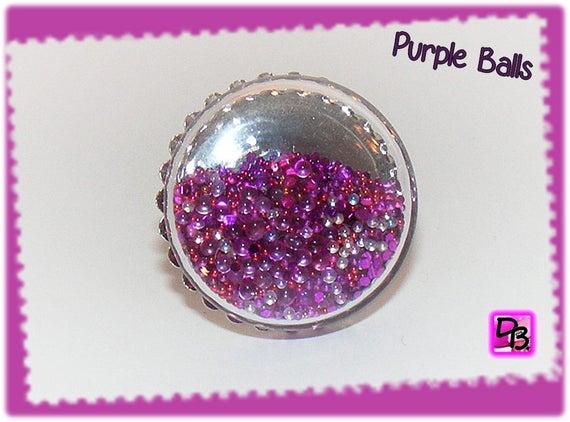 Bague globe [Purple balls]