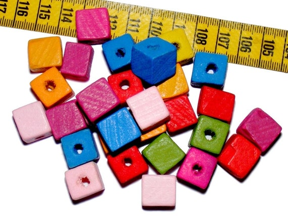 Wood Cubes 13 Mix Color x 7 mm beads