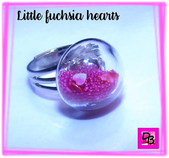 Bague globe [Little fuchsia hearts]