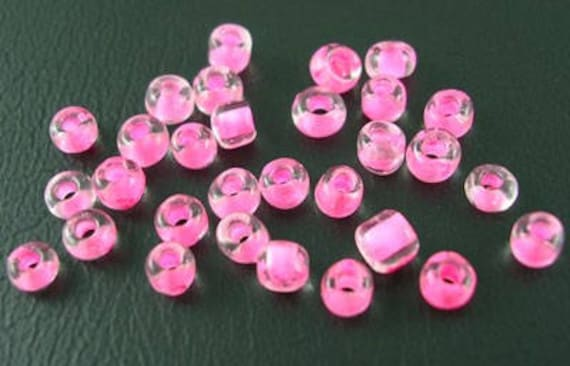 10grs, pearls, seed beads, 8/0, glass, HotPink Lined