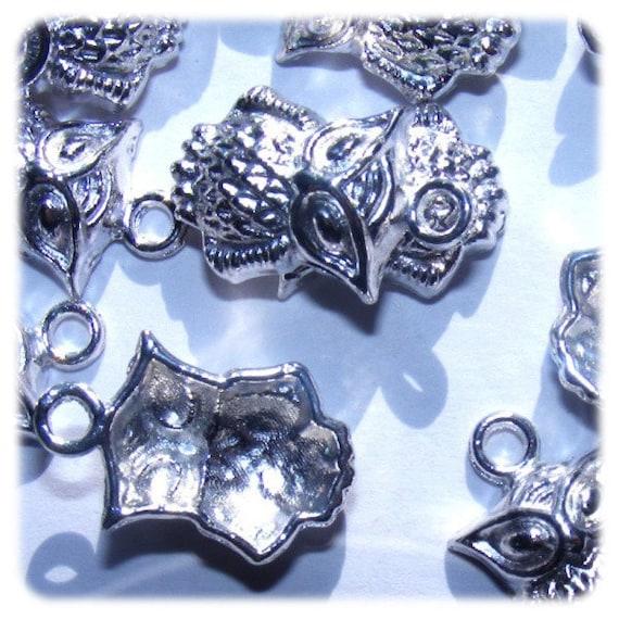 20 mm silver x 5 clear OWL charm