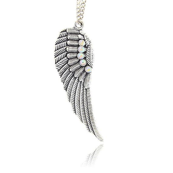 Pendant large wing 52 mm antique silver and rhinestone Crystal AB x 1
