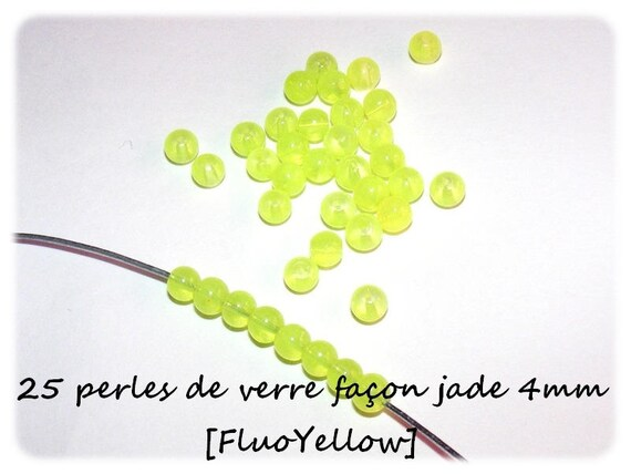 25 beads Imitation Jade 4mm [FluoYellow]